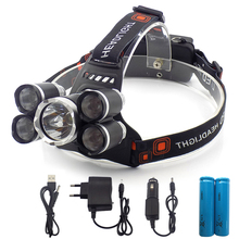 High power Headlight headlamp 5 Chip XM-L T6 /Q5 LED Head Lamp Flashlight Torch Lanterna head light with batteries AC charger