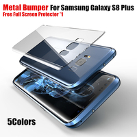 S8 Plus Case Metal Frame Bumper Aviation Aluminum Armor Border Within Transparent Back Cover For Samsung