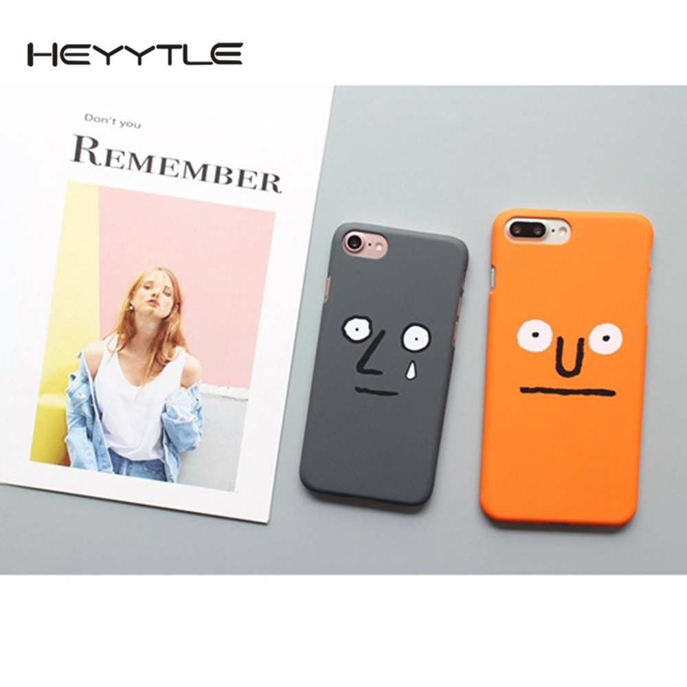 Heyytle Awkward Face Phone Case For iPhone X 8 7 6S 6 Plus 5 5S 5C SE Lovers Fashion Cute Frosted Back Cover Hard PC Cases