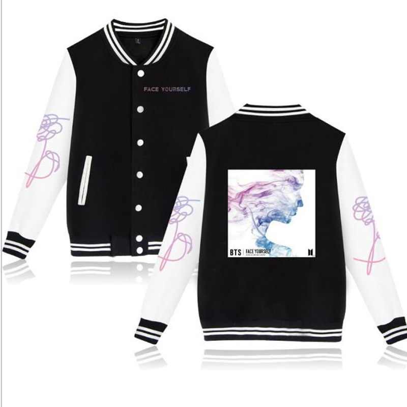 KPOP BTS Face Yourself Fake Love Album Fleece Baseball Jacket Women Men Casual Long Sleeve Harajuku Sweatshirt Hip Hop Clothing