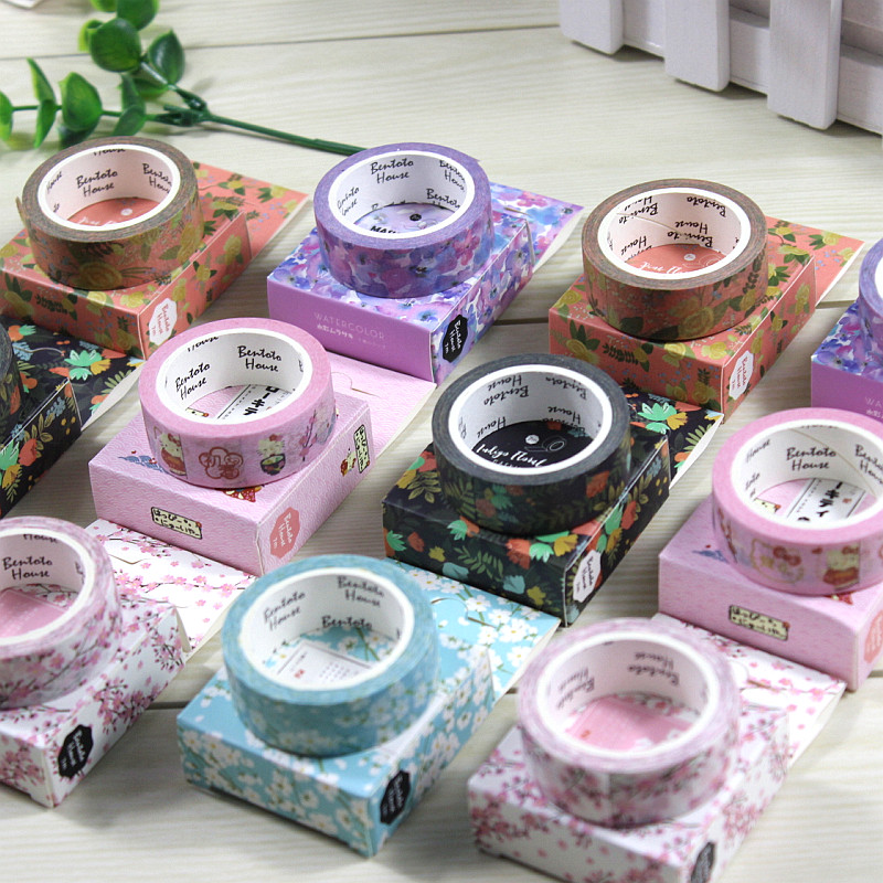 1.5cm*7M The Romantic Season of Cherry Decorative Washi Tape DIY Scrapbooking Masking Craft Tape School Office Supply colorful gilding hot silver alice totoro decorative washi tape diy scrapbooking masking craft tape school office supply