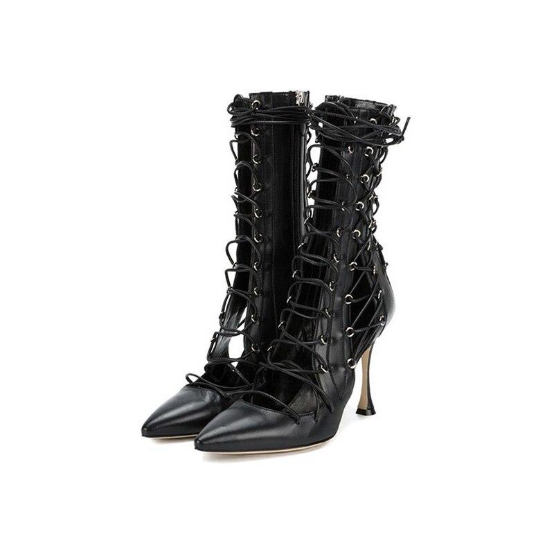 48eeea3751c4f7 Sestito Chaussures Bout Sandales À Filles Découpes Sexy Femme Pointu Bottes  Habillées Noir Talons Rouge Noir ...