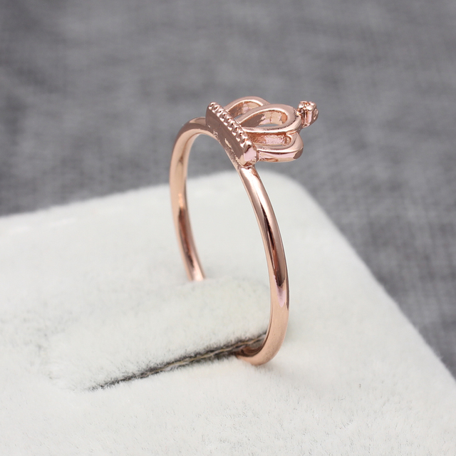 Simple Princess Crown ring rose gold silver plated copper finger