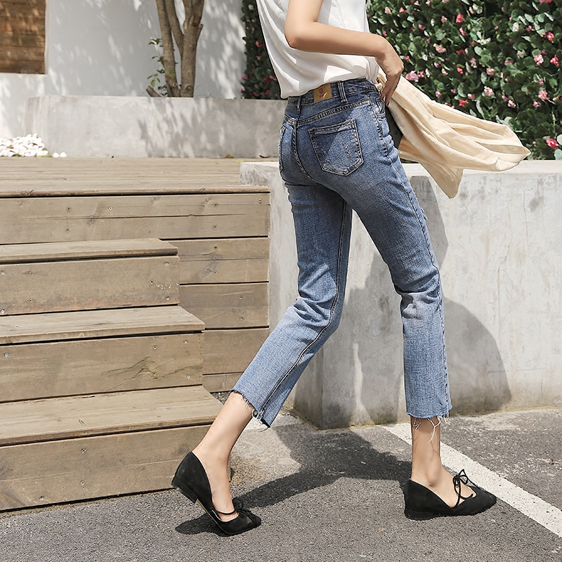 Water washed straight jeans Korean version of the autumn loose pants pants casual pants was thin pants bride of the water god v 3