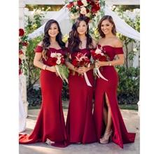 Off the shoulder red bridesmaid dress gown stretchy slash neck split front floor length dress wedding maxi dress