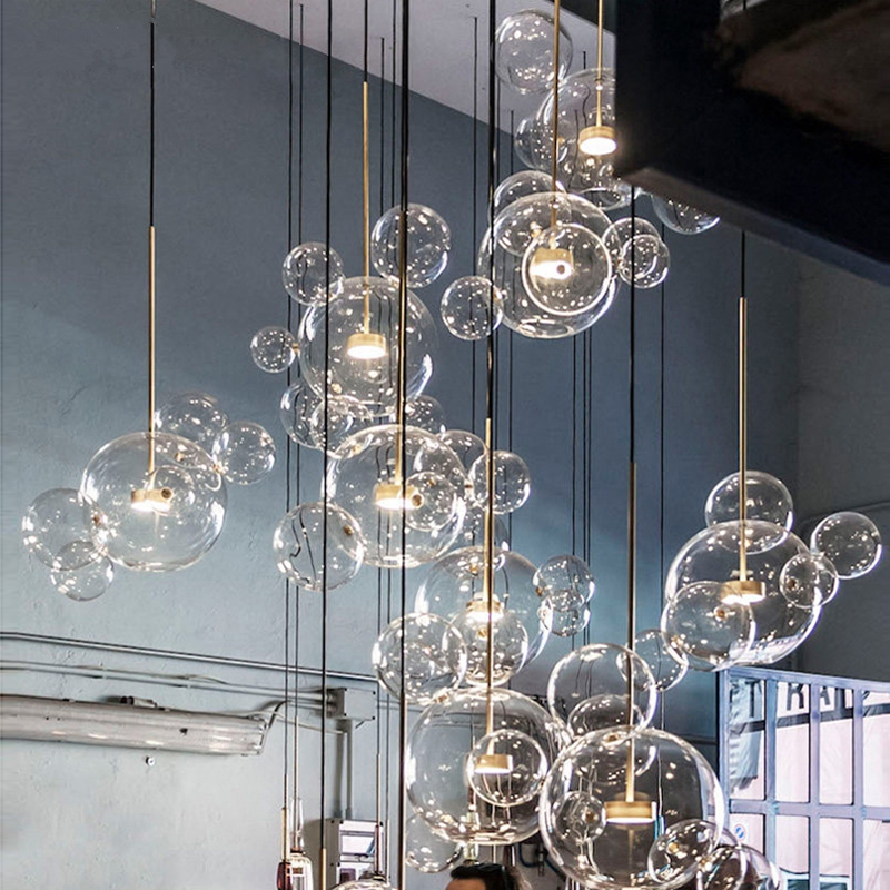 Modern Pendant Light Clear Glass Led  Pendant Lights Soap Bubble Ball Fixtures Indoor Lighting Hanging Lamp Light Fixtures