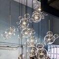 Moderno pingente de luz de vidro claro led luzes pingente sabão bolha bola luminárias iluminação interior lâmpada pendurada luminárias