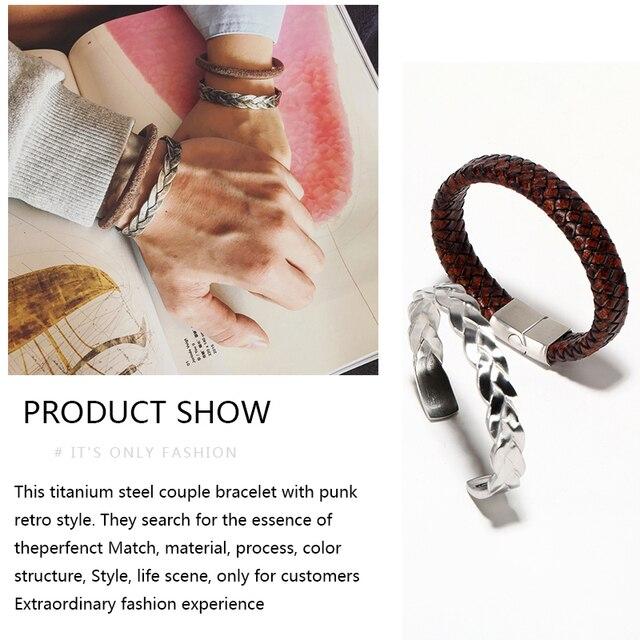 Braided Leather + Titanium Chain Cuff set or separetly 4