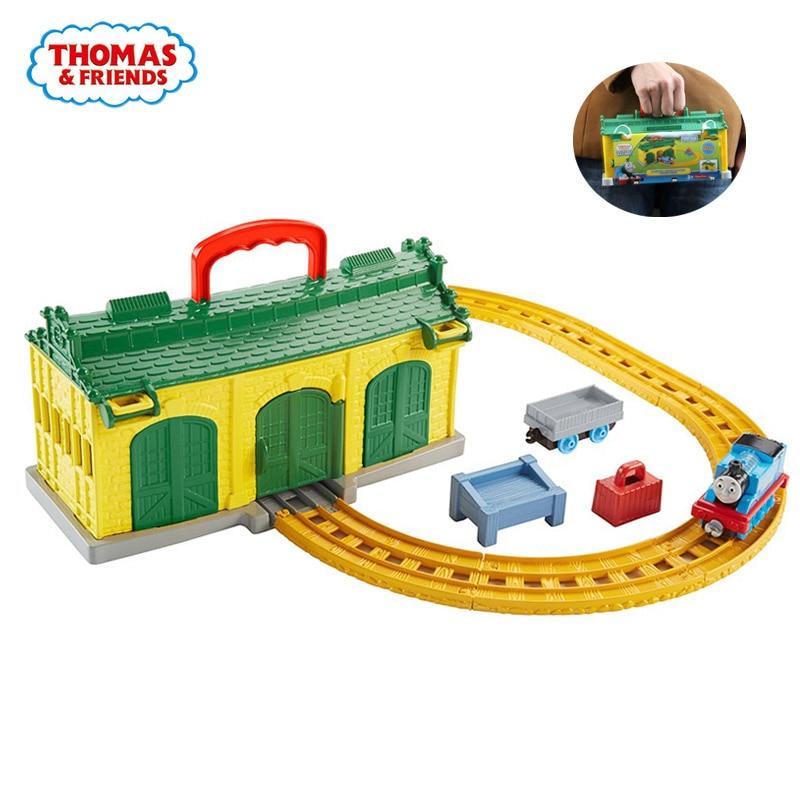 Original Thomas And Friends Machine Room Garage Suit Alloy Little Train Diecast Orbital Boys Birthday Present Children Toys
