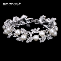 AAA Crystal Pefect Round Pearl Bridal Jewelry Exquisite Leaves Link Chian Wedding Bracelets SL089