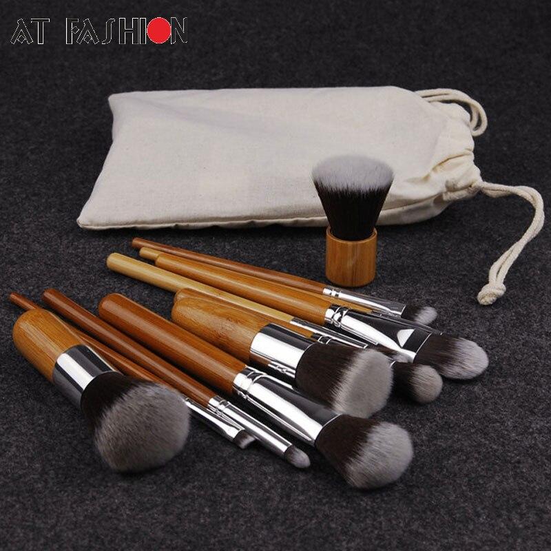 11 PZ Professionale Bamboo Pennelli Trucco Set Cosmetici Fondazione Make Up Pennello Tools Kit per la Polvere Fard Ombretto Eyeliner