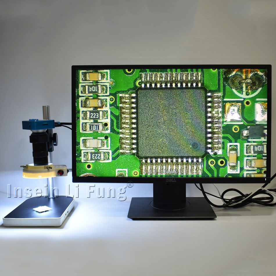 Indústria 60FPS 20MP Full HD 1080 P HDMI USB Microscópio Digital Video Camera + 8X-130X Zoom C-montagem Da Lente + suporte + LEVOU Fonte de Luz