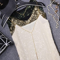 2017 summer all match sequins sexy V collar fine metal chain camisole thin bottoming shirt female camis