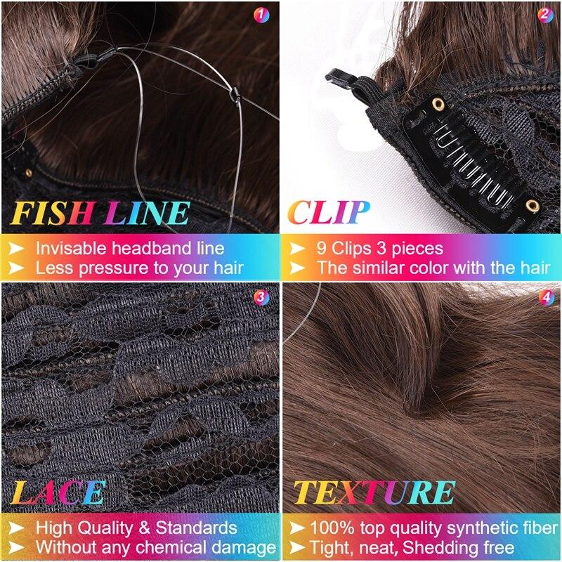 DinDong 18 tums osynliga osynliga hårstycken Syntetisk fisklinje - Syntetiskt hår - Foto 5