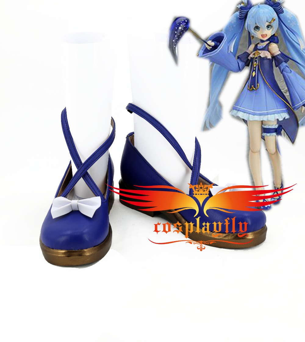 Vocaloid 2017 Snow Miku 2017 Hatsune Miku Stargazer Cosplay Shoes Boots For Adult Starry Sky Blue Dress Costume Custom Made
