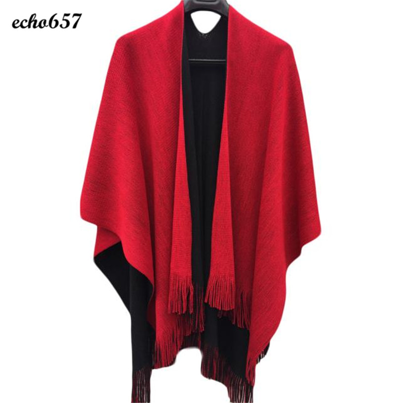 Fashion Echo657 Hot Sale Newly Fashion Women Winter Knitted Cashmere Poncho Capes Shawl Cardigans Sweater Coat Dec 7