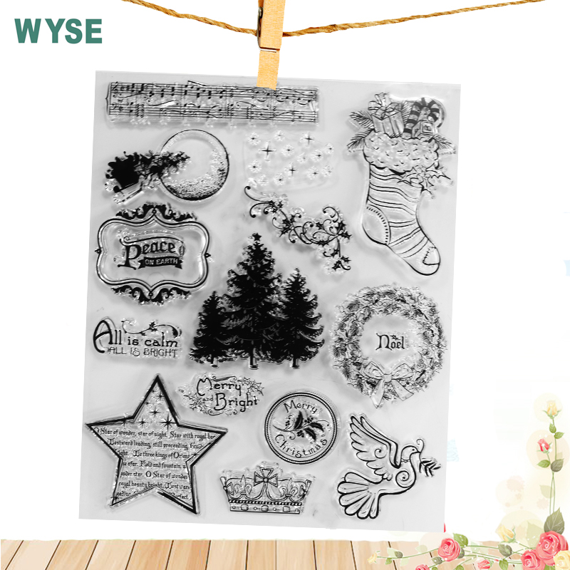 19*23.5cm Big Size Christmas Clear Transparent Stamp Clear Rubber Silicone Craft Stamps for DIY Paper Card Making Scrapbooking low price quartz dia 48mm thick 3mm 1064nm protective window for engraved christmas ornamemts rubber stamp machine