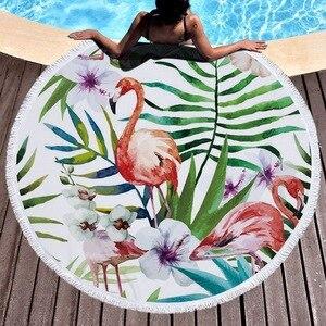 Image 5 - Microfiber Flamingo Printed Round Tassel Beach Towel