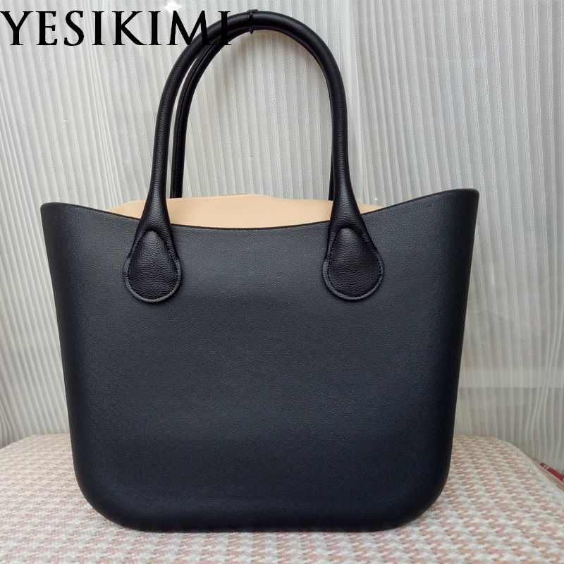 Black Silicone Bag Women Bucket bags O Casual Tote Summer Beach Purses 42CM Silica Handbag Design Bolsas With Khaki Insert Bag