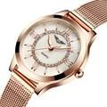 Oro pulsera de las mujeres reloj guanqin relojes de las mujeres de moda casual correa de acero inoxidable reloj de cuarzo relogio feminino famosa marca