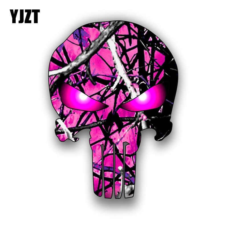 YJZT 9.3 CM * 12.7 CM PUNISHER SKULL Ngụy Trang Màu Hồng Punisher Tính Cách Phản Xạ Xe Nhãn Dán C1-7090