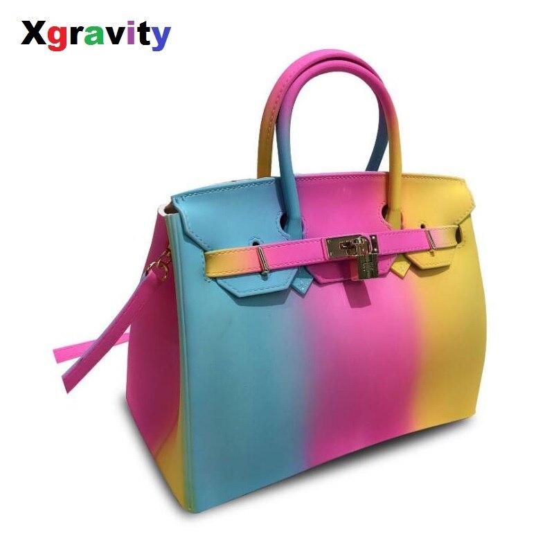 Xgravity nouveau Messenger gros sacs tout assorti femmes fourre-tout dames gelée arc-en-ciel coloré sac à main femme PVC sacs filles H174