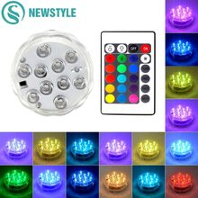 10 LED RGB Underwater Light Pond Submersible IP67 Waterproof Outdoor Swimming Pool Light Battery Operated for Vase Wedding Party(China)