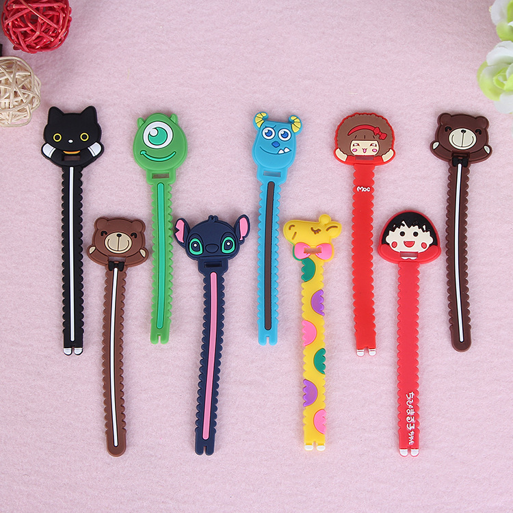 10pcs/lot Cartoon sawtooth style perforated bobbin winder Headphone cable organizer multifunction Bag clip