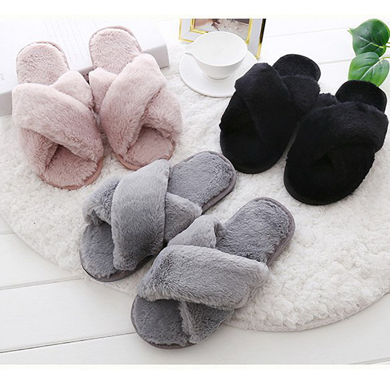 LAAMEI Women Slippers Winter Shoes Flat Sweet Home Slippers Woman Indoor Shoes Fur Warm Soft Slip On Black Pink Grey Female Slip millffy 2018 new summer sweet ladies shoes pink girl home slippers cotton indoor slip on knot stripe slippers