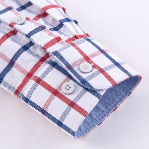 Image 4 - 남성 캐주얼 두꺼운 옥스포드 코튼 체크 무늬 스트라이프 셔츠 싱글 패치 포켓 긴 소매 표준 맞춤 버튼 다운 체크 무늬 셔츠