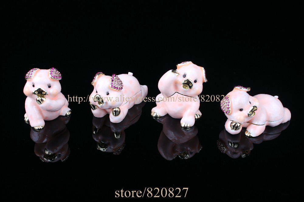 купить Pig Jewelry Trinket box Bejeweled Figurine Crystal Pig Jewelry Jewelry Trinket Box Enamel Pig Trinket Gift Display Box