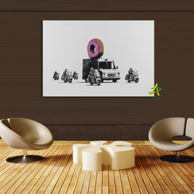 YWDECOR Pop Art Canvas Painting Print on Canvas Poster Armored Vehicles and Motorcycle Wall Art  Living Room Decor Picture