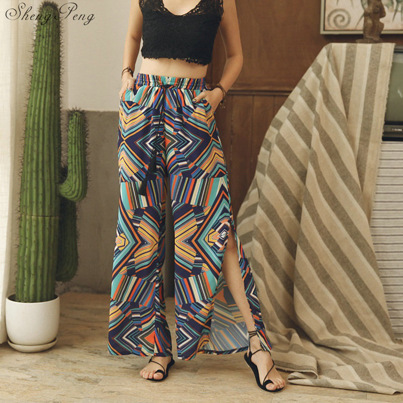 2018 New boho   pants   vintage floral print side split   pants   ethnic   wide     leg     pants   high waist summer beach long   pants   CC572