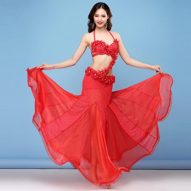 594e26c1c4 Red Women Dance Wear Oriental Style Flowers Maxi Skirts Sequins Belly Dance  Costume 4pcs Set (Bra, Belt, Skirt & Sleeves)