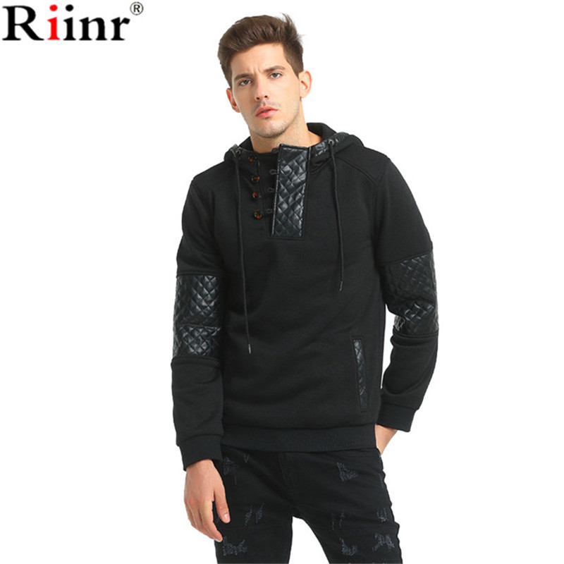 Riinr 2017 Fashion New Arrival Hoodies High Quality Brand Autumn Casual Hip Hop Splicing Leather Hooded Pullover Sweatshirt Men