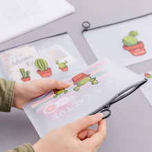Cute cactus cosmetic bag file ladies storage transparent travel stationery makeup toiletry