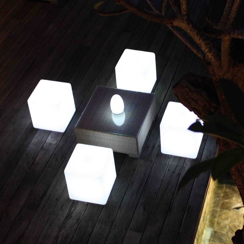 40x40x40CM <font><b>LED</b></font> <font><b>Cube</b></font> Light Luminous Furniture Remote Control 16-Color <font><b>LED</b></font> Cubic Stool Lamp for Outdoor Indoor Night Party Decor image