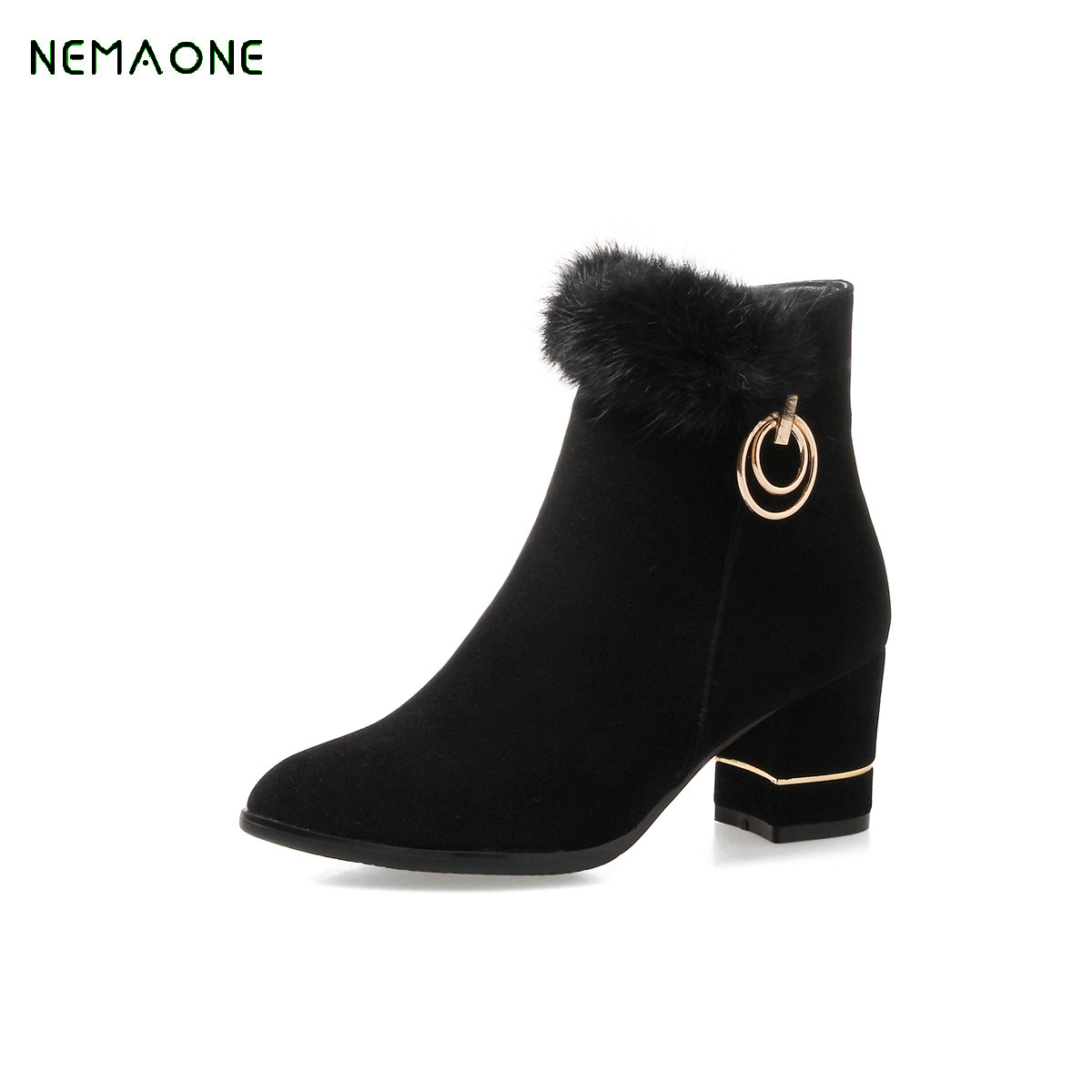 все цены на NEMAONE Fashion Black Martin Boots Women 2017 New Autumn Platform Shoes Woman Party Ankle Boots High Heels