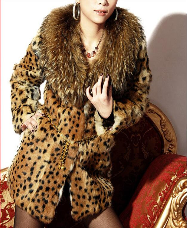 2019 winter coat women faux fur coat fashion sexy leopard coat Raccoon Dog Fur collar women plus size S-6XL fur jacket women