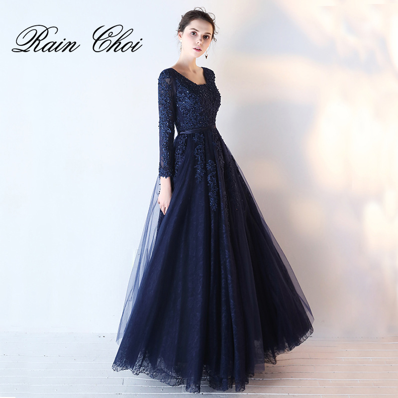 3/4 Sleeves Prom Dress 2019 A Line Long Prom Gown Formal Evening Dresses