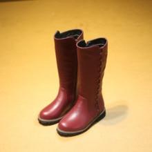 Geunine Leather Girls Boots Winter 2016 New Children's Shoes Cotton Martin Boots Princess High Boots Children Kids Stars Rivet