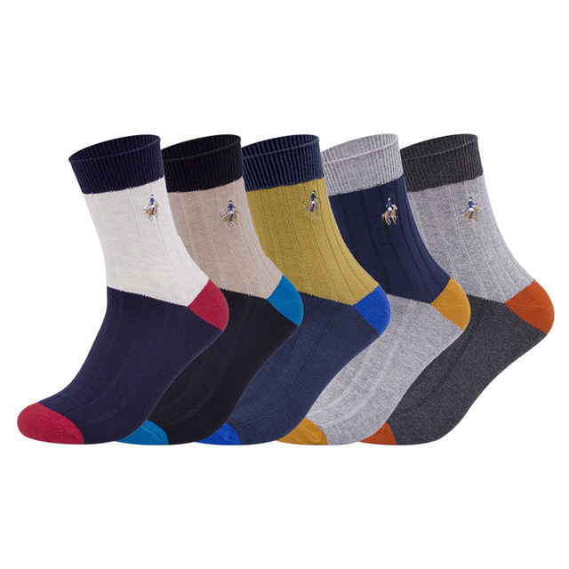 5 pairs/lot winter men socks Pure Cotton thicker warm crew Socks PIER POLO Embroidered  Medias de los
