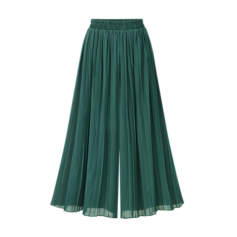 Women   Wide     Leg     Pants   Green Black New Fashion Casual Solid Color Loose High Waist Chiffon   Pants   Trousers