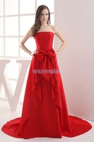 free shipping customized 2014 new design hot seller formal gown brides maid Dress maxi dresses long red taffeta evening dresses