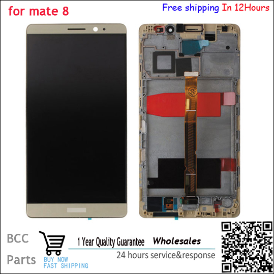 Lcd screen Display+Touch digitizer with frame For Huawei Mate 8 NXT-AL10 black/gold /white color free shipping,Test ok+Tracking free dhl ems shipping warranted lcd for huawei g700 screen display with touch digitizer white black color tools 10 pieces a lot