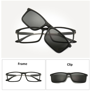 Image 2 - 4Pcs Unbreakable Clip on Sunglasses Polarized Magnetic lens Alloy Plastic TR90 Flexible Frame for Night Driving
