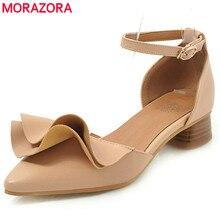 купить MORAZORA 2019 new pumps women shoes pointed toe buckle summer shoes elegant sweet square heels ladies shoes big size 34-48 по цене 1612.94 рублей