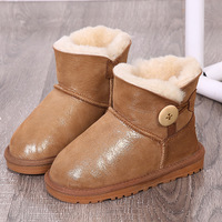 Brand Australia Snow Boots Children Sheep Leather and Fur Snow Wear Shoes Girls Boys Booties Sheepskin Baby Boots Teenager Shoes