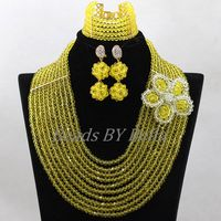 Handmade Yellow Crystal Flowers Brooch Women Nigerian Wedding Party Necklace African Beads ace Jewelry Sets Free Shipping ABK847