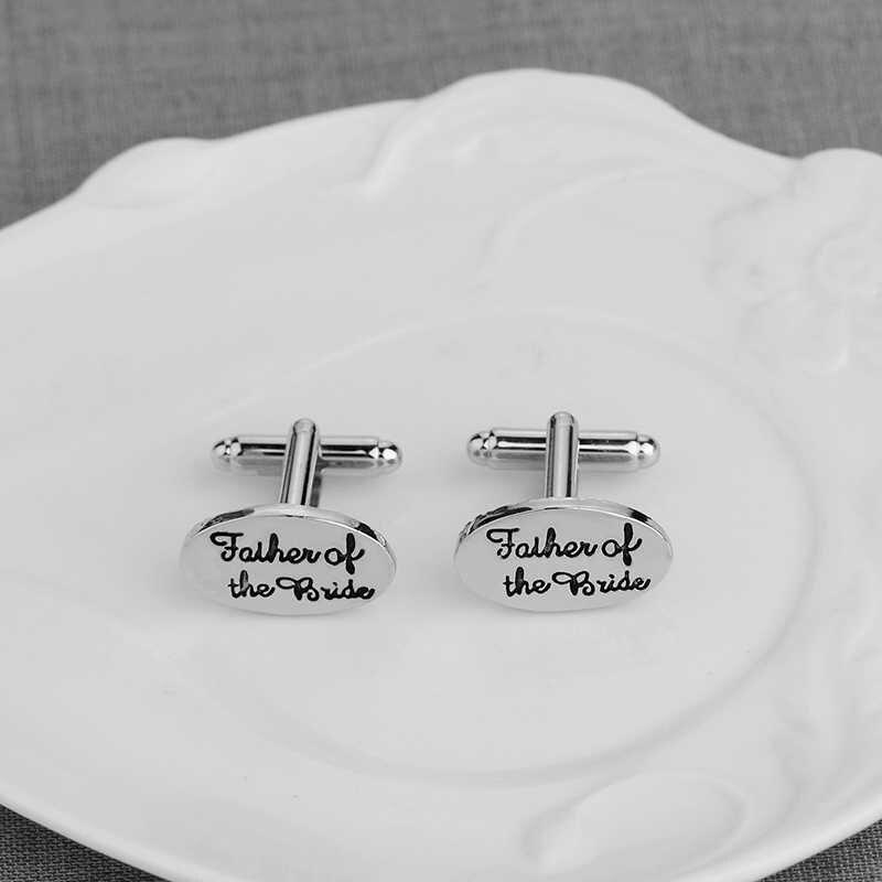 1 par 2019 gemelos personalizados para el padre de la novia camisa chapada en plata monograma gemelos para el día de la boda regalo para el padre